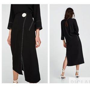 Zara wrap skirt with contrasting stitch detail